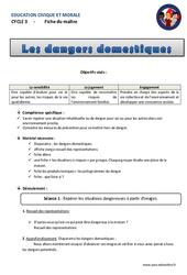 Dangers domestiques - Cm1 - Cm2 - Fiche de préparation