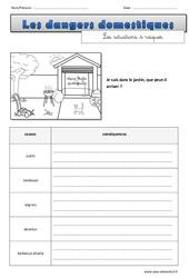 Risques dans le jardin - Cm1 - Cm2 -  Exercices sur les dangers domestiques