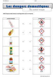 Produits toxiques - Cm1 - Cm2 -  Exercices sur les dangers domestiques