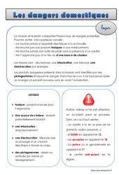 Dangers domestiques – Cm1 – Cm2 – Leçon