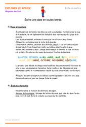 Écrire une date en toutes lettres - Moyenne section - Fiche de préparation