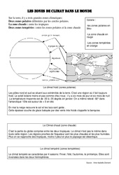 les zones de climat dans le monde – Cm1 cm2 – Exercices géographie cycle 3