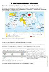 La langue française dans le monde – La francophonie – Cm1 cm2 – Exercices – Cycle 3