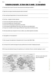 La France dans le monde –  La francophonie – Cm1 Cm2 – Evaluation
