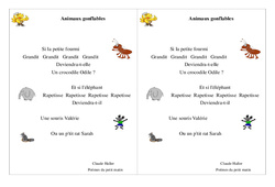 Poésie animaux - ce1 - : Animaux gonflables - Cycle 2