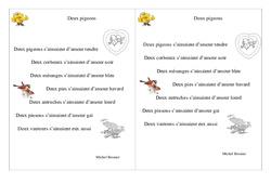 Poésie animaux - ce1 - : Deux pigeons – Cycle 2 - Français