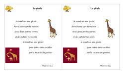Poésie animaux - ce1 - : La girafe  – Cycle 2 - Français