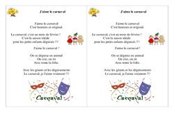 Poésie carnaval  - Ce1 -  J'aime le carnaval - Cycle 2  Français