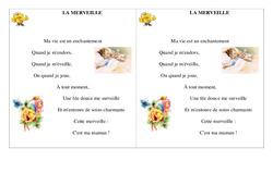 La merveille – Ce1 – Fête des mères – Cycle 2 – Poème et poésie