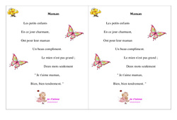 Maman  – Ce1 – Fête des mères – Cycle 2 – Poème et poésie -2-