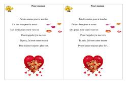 Pour maman – Ce1  – Fête des mères – Cycle 2 – Poème et poésie
