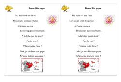 Ce1 – Poésie, poème – Fête des pères –  Bonne fête papa  -2 – cycle 2