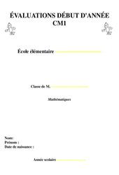 Evaluation début d'année - Diagnostique  - Cm1 - Mathématiques - Cycle 3