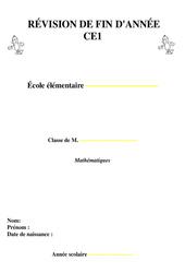 Révisions fin d'année – Mathématiques – Ce1 – Evaluation cycle 2