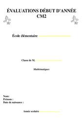 Evaluation diagnostiques début d'année - CM2 - Mathématiques