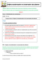 Origine,transformation et conservation des aliments – Cm1 – Cm2 – Plan de séquence