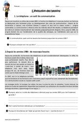 Evolution des besoins - Cm1 - Cm2 - Exercices sur le téléphone