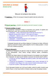 Mesurer et comparer des durées – Grande section – Plan de séquence
