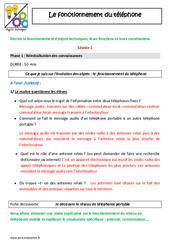 Fonctionnement du téléphone - Cm1 -  Cm2 - Fiche de préparation