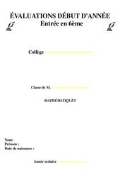 Evaluation diagnostique – 6ème Mathématiques – Collège