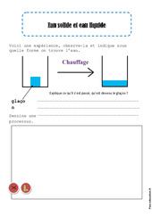 Eau solide - Eau liquide - Ce1 - Exercices - La matière - Sciences - Cycle 2