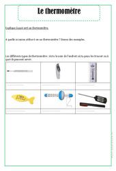 Thermomètre – Ce1 – Exercices – La matière – Sciences – Cycle 2