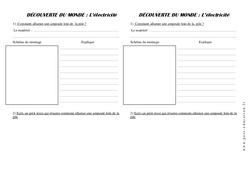 Fiche de montage – Electricité - Ce1 – Exercices – La matière – Sciences – Cycle 2