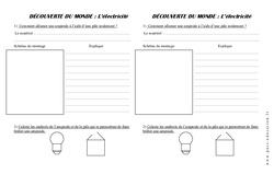 Electricité- Fiche de montage (1) - Ce1 – Exercices – La matière – Sciences – Cycle 2