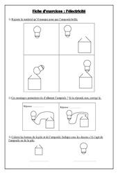Fiche d'exercices: L'électricité - Ce1 – La matière – Sciences – Cycle 2