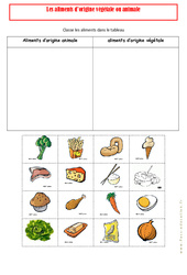 Aliments d'origine animale – végétale – Ce1 – Exercices – Alimentation – Découverte du monde – Cycle 2