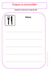 Compose ton menu – Ce1 – Exercices – Alimentation – Découverte du monde – Cycle 2