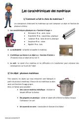 Caractéristiques des matériaux - Cm1 - Cm2 - Exercices