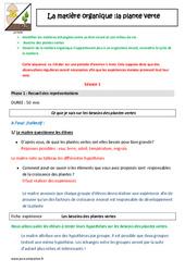 Plante verte – Matière organique – Cm1 – Cm2 – Fiche de préparation