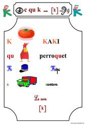 Le son [k] - Cp - Etude des sons - Lecture - Cycle 2