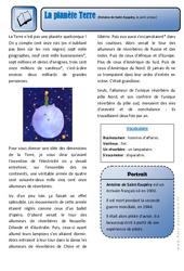 La planète Terre- Le petit prince – Ce2 – Exercices – Lecture – Récit – Cycle 3