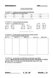 Multiplication des nombres naturels – Cm1 – Cm2 – Evaluation