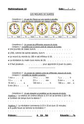 Mesures de durées – Cm1 – Cm2 – Evaluation