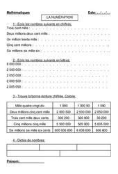Nombres naturels – Différentes écritures  – Cm1 – Cm2 – Exercices – Numération -Mathématiques – Cycle 3