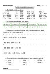 Nombres décimaux - Ordre - Cm1 - Cm2 - Exercices - Numération -Mathématiques - Cycle 3