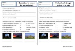 Jour, nuit – Ce1 – Evaluation – Espace temps – Cycle 2