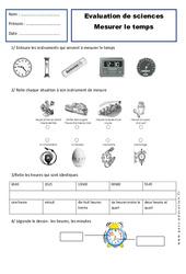 Mesurer le temps – Ce1 – Evaluation – Espace temps – Cycle 2