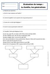 Générations – Famille – Ce1 – Evaluation – Espace temps – Cycle 2