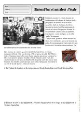 Ecole - Aujourd'hui - Autrefois -Traces du passé– Ce1 – Exercices – Espace temps – Cycle 2