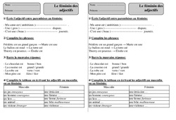 Féminin des adjectifs – Ce1 – Exercices – Orthographe – Cycle 2
