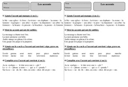Accents – Ce1 – Exercices – Orthographe – Cycle 2