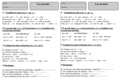 Accents – Ce1 – Exercices 2 – Orthographe – Cycle 2