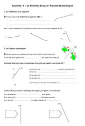 Symétrie axiale - Figures usuelles – 6ème – Géométrie - Exercices - Contrôle – Mathématiques – Collège