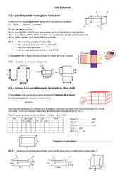 Volumes – 6ème – Grandeurs et Mesures – Exercices – Contrôle – Mathématiques – Collège