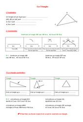 Triangles - 5ème – Géométrie – Exercices – Contrôle – Mathématiques – Collège