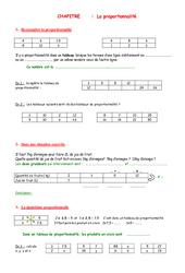 Proportionnalité – 5ème – Organisation et gestion des données – Exercices – Contrôle – Mathématiques – Collège